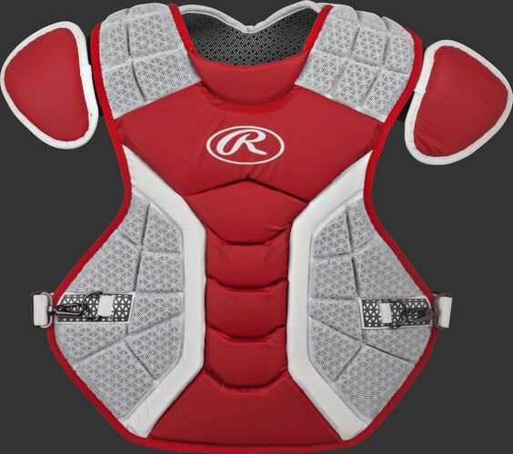 A scarlet/grey CPPRO Pro Preferred adult chest protector
