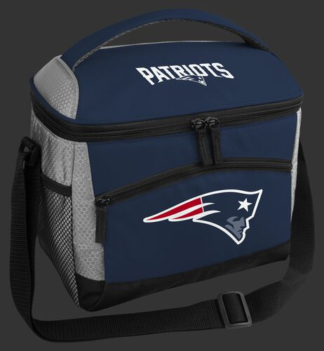 A blue New England Patriots 12 can soft sided cooler with a team logo on the front - SKU: 10111076111