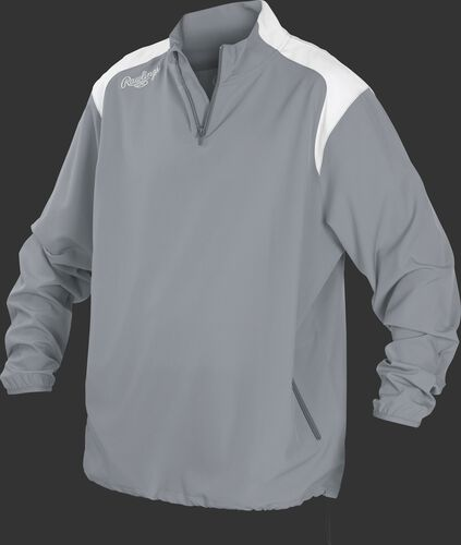 Front of Rawlings Gray Adult Long Sleeve Quarter-Zip Jacket - SKU #FORCEJ-B-88