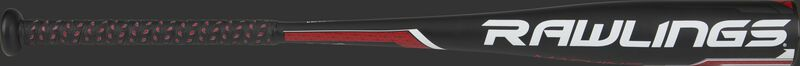 White Rawlings logo on a Rawlings Machine USA bat with a black barrel - SKU: MODUS8MC8