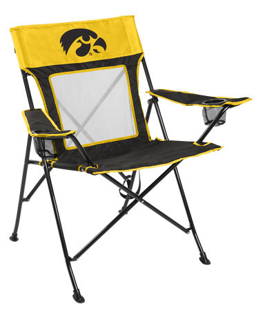 Front of Rawlings Yellow and Black NCAA Iowa Hawkeyes Game Changer Chair With Team Logo SKU #00643075111