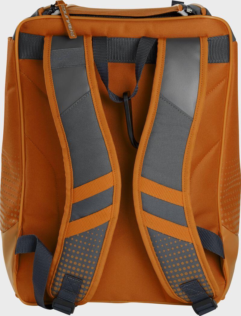 Back of an orange Rawlings Franchise backpack with gray shoulder straps - SKU: FRANBP-O