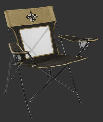 Front of Rawlings Black and Gold NFL New Orleans Saints Game Changers Chair With Team Logo SKU #00651077111