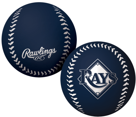 A navy Tampa Bay Rays Big Fly rubber bounce ball