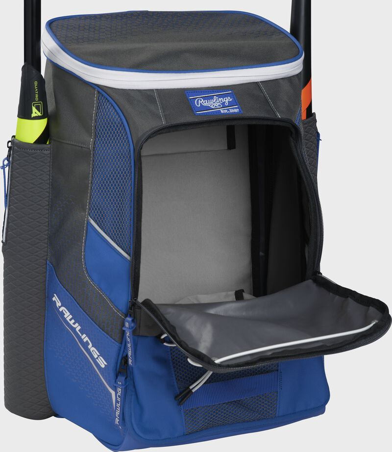 Front of a royal Rawlings Impulse backpack with the main compartment open - SKU: IMPLSE-R
