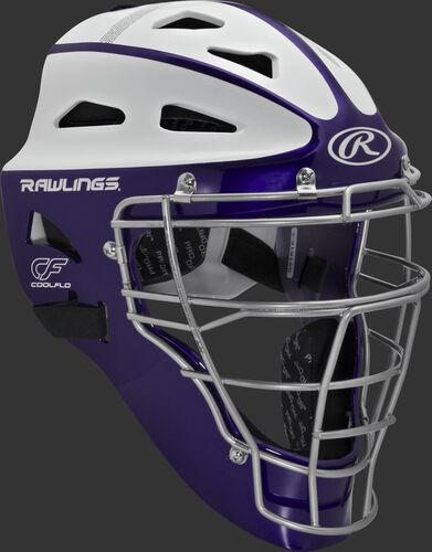 Front right of a purple/white SBCHVEL Rawlings adult Velo softball catcher's helmet