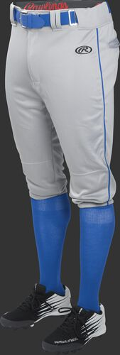 Front of Rawlings Blue Gray/Royal Youth Launch Piped Knicker Baseball Pant - SKU #YLNCHKPP-BG/B-88