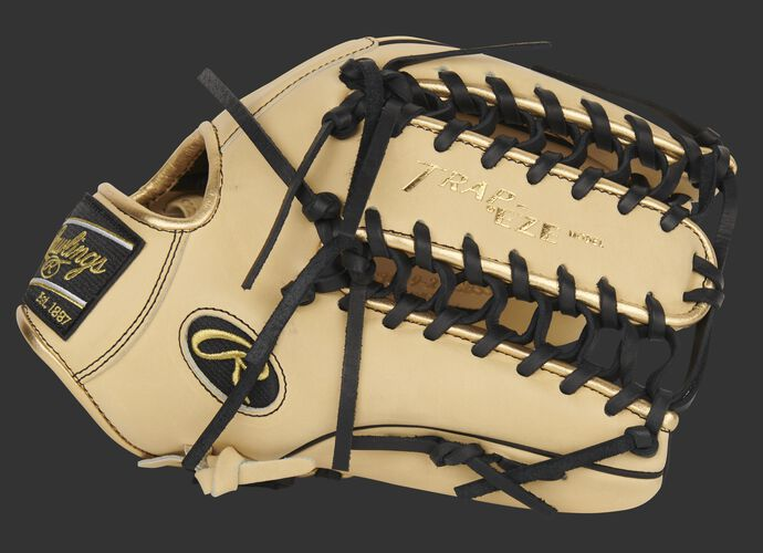 Camel thumb of an exclusive Pro Preferred Speed Shell outfield glove with a camel Trap-Eze web - SKU: PROS3039-22CBSS