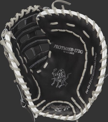 PROTM8SB-17BG Rawlings 12.5-inch fastpitch first base mitt with a black palm and grey laces