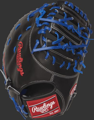 Back view of a PROSAR44 Pro Preferred 12.75-inch first base mitt with a black kip leather back