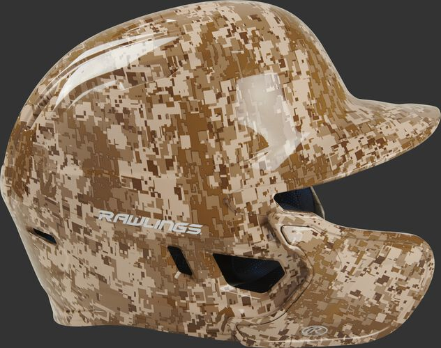 Right side of a MACHEXTL-DCMO Rawlings Mach EXT batting helmet with an MEXT face guard extension attached