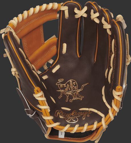 A PRO204W-2CH Rawlings 11.75-inch infield glove with a chocolate palm and camel laces