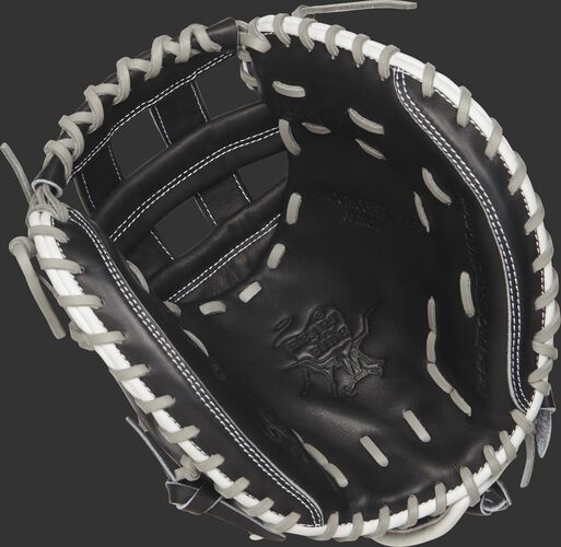 PROCM33FP-24BG Rawlings 33-inch fastpitch catcher's mitt with a black palm and grey laces