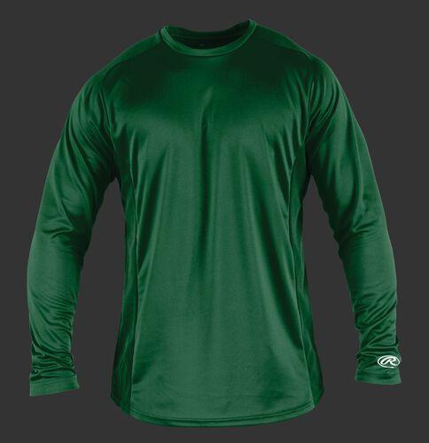 Front of Rawlings Dark Green Adult Long Sleeve Shirt - SKU #LSBASE