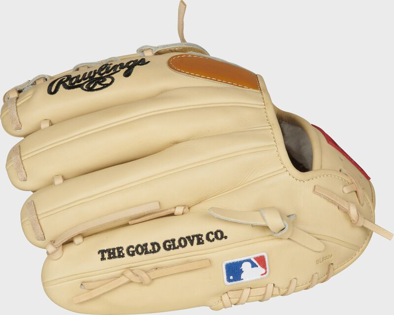 Back finger view of a Gameday 57 Series DJ LeMahieu glove with a MLB logo on the pinky - SKU: PROSNP4-DJ26