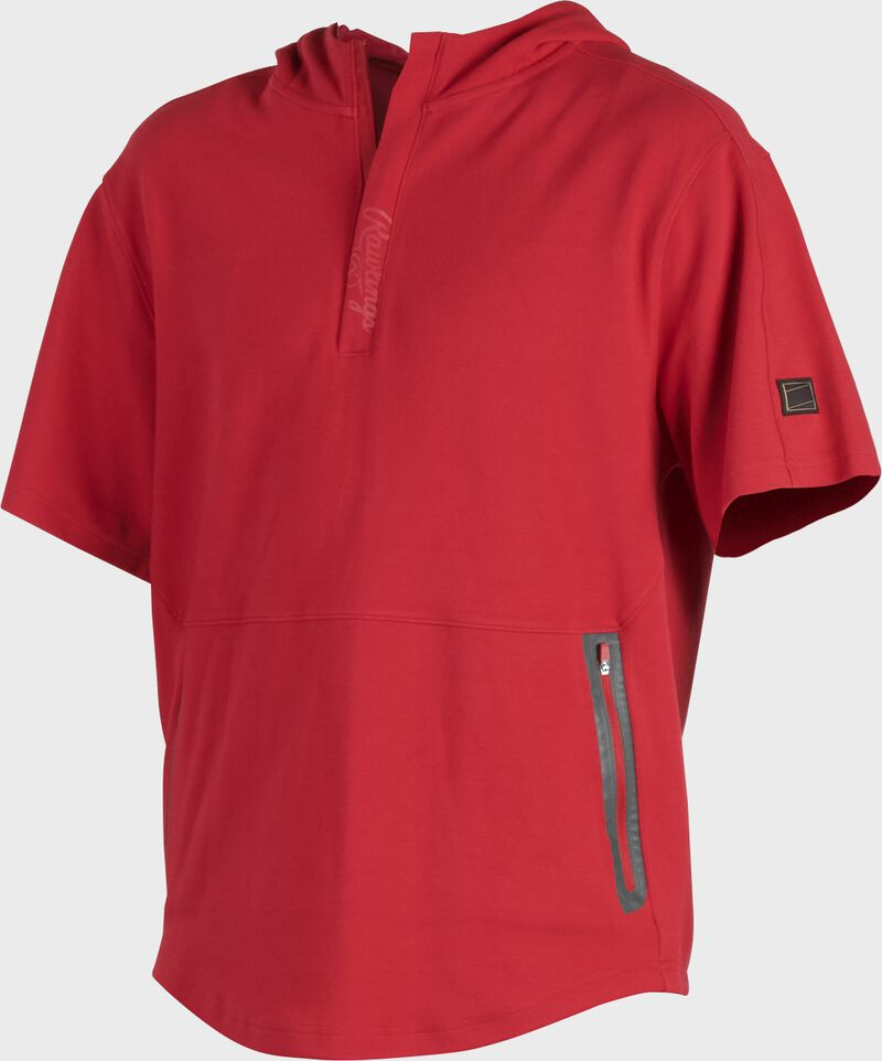 A scarlet Gold Collection short sleeve hoodie with a 1/4 zip and gray welded zipper pockets - SKU: GCJJ-S