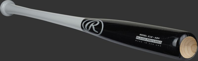 Angled view of a black/grey Rawlings Ash Player Preferred bat with a cupped end - SKU: 318RAW