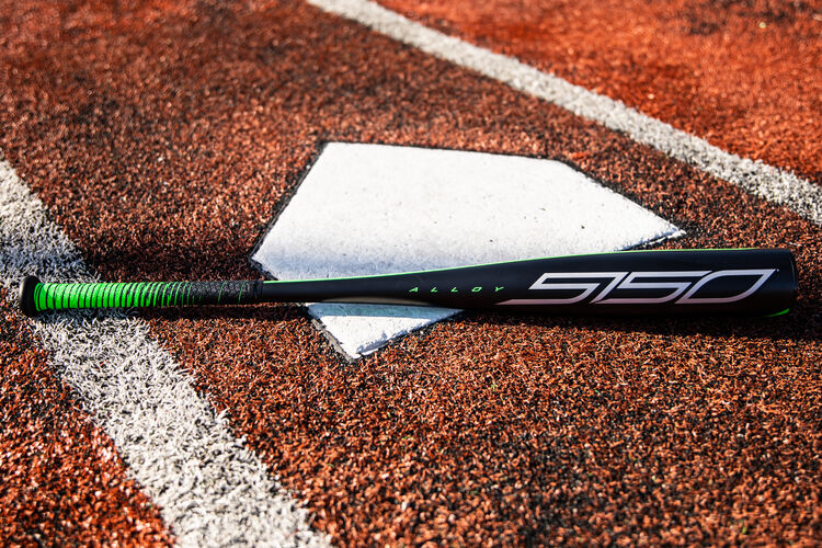 A black 2021 Rawlings 5150 USSSA bat on a field next to home plate - SKU: UT1510
