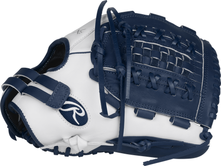 RLA125-18WN Liberty Advanced Color Series 12.5-inch fastpitch glove with a white thumb, navy trim and navy Basket web