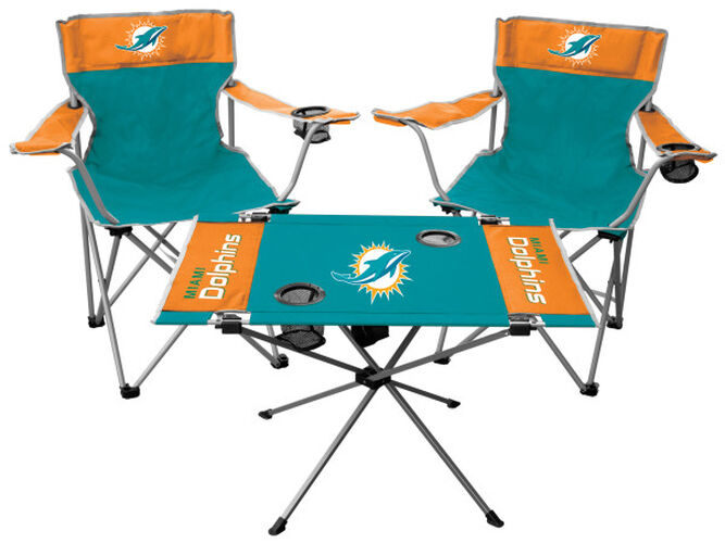 Front of Rawlings Aqua Green and Orange NFL Miami Dolphins 3-Piece Tailgate Kit With Two Kickoff Chairs, An Endzone Table, And A Transport Bag With Team Logo SKU#01041074511