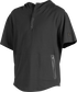 A black Gold Collection short sleeve hoodie with a 1/4 zip and gray welded zipper pockets - SKU: GCJJ-B image number null