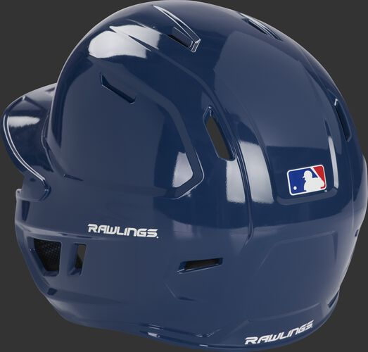 Left back of a navy MCH01A Rawlings Mach batting helmet with optimized air ventilation holes