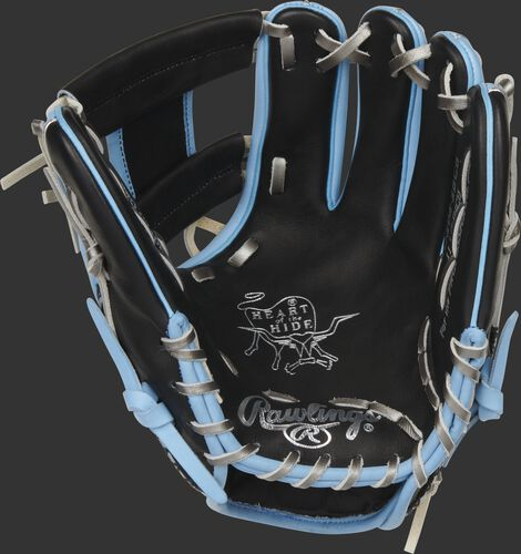 Black palm of a Rawlings HOH ColorSync 5.0 infield glove with silver stamping and platinum laces - SKU: PRO204-2BCB