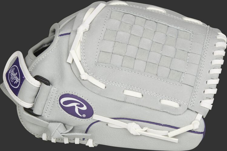 Thumb of a grey SCSB125PU Sure Catch Softball 12.5-inch youth outfield glove with a grey Basket web