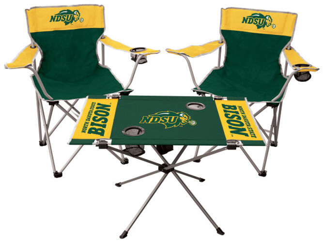 Front of Rawlings Green and Yellow NCAA North Dakota State 3-Piece Tailgate Kit With Two Kickoff Chairs, An Endzone Table, And A Transport Bag With Team Logo SKU #00993158511