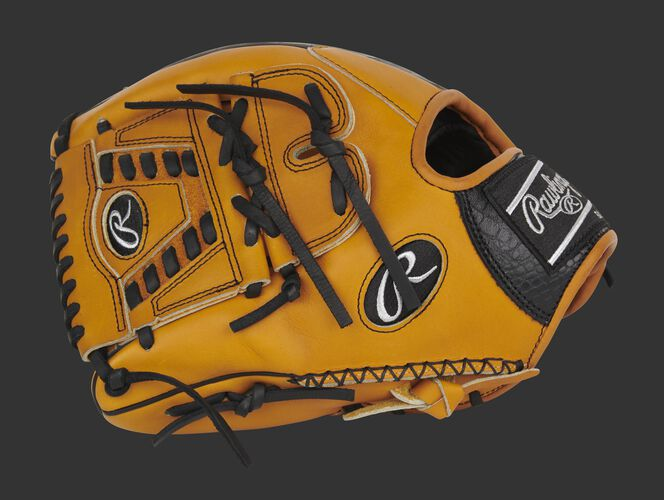 Tan thumb of an exclusive Pro Preferred Croc infield/pitcher's glove with a tan laced 2-piece solid web - SKU: PROS205-30TC