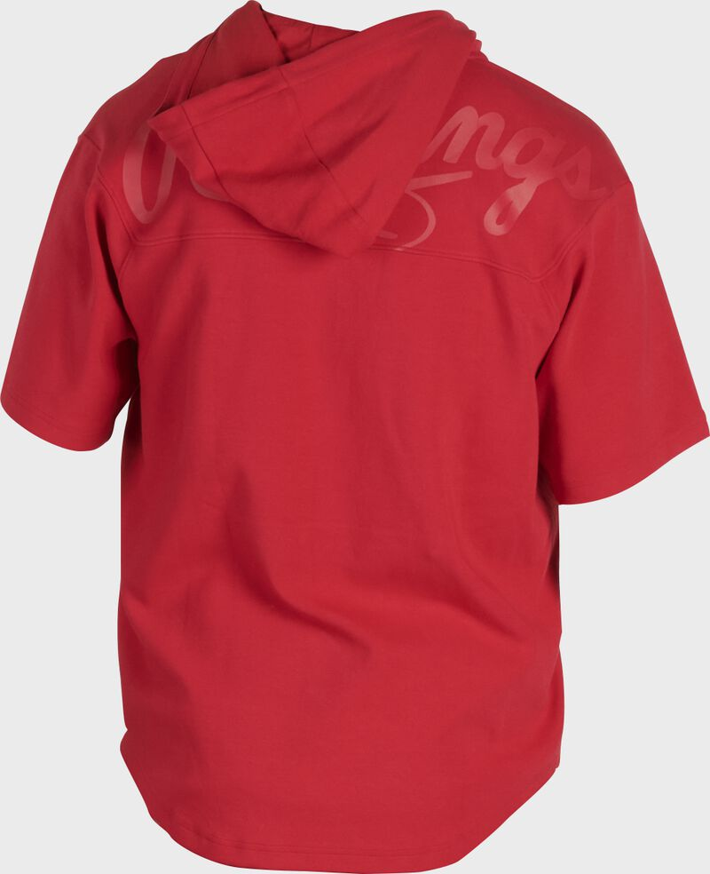 Back of a scarlet Rawlings Gold Collection short sleeve hoodie with a scarlet script Rawlings logo across the back - SKU: GJJ-S