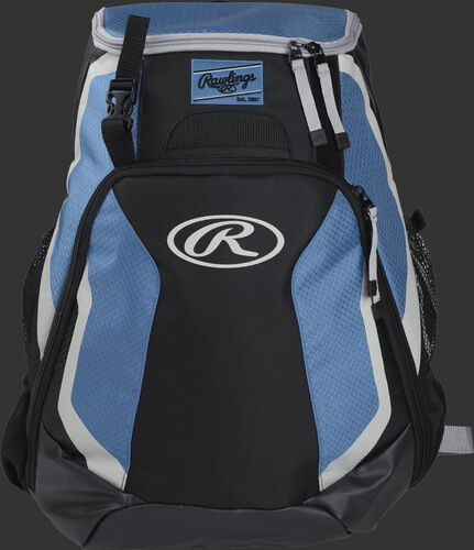 Front of a black/columbia blue R500 Rawlings Players team backpack with a Rawlings patch and white Oval R
