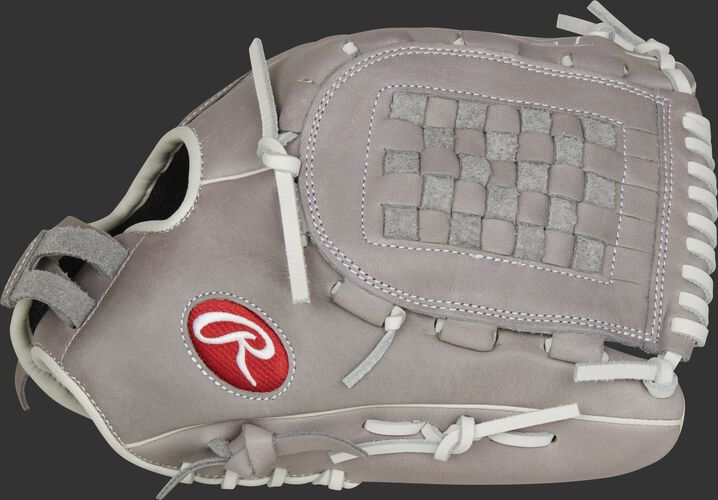 Thumb of a gray 2021 R9 Series 12.5-Inch fingershift fastpitch glove with a gray Basket web - SKU: R9SB125FS-3G
