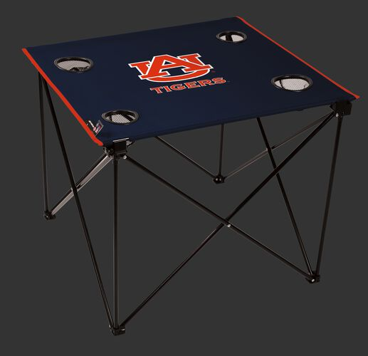 A navy NCAA Auburn Tigers deluxe tailgate table with four cup holders and team logo printed in the middle SKU #00713003111