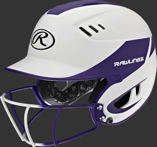 A white/purple R16H2FGS Velo senior batting helmet with a white/purple facemask