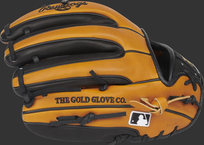 Back of a Rawlings Horween tan HOH glove with black trim and MLB logo on the pinkie - SKU: PRO314-2HTB
