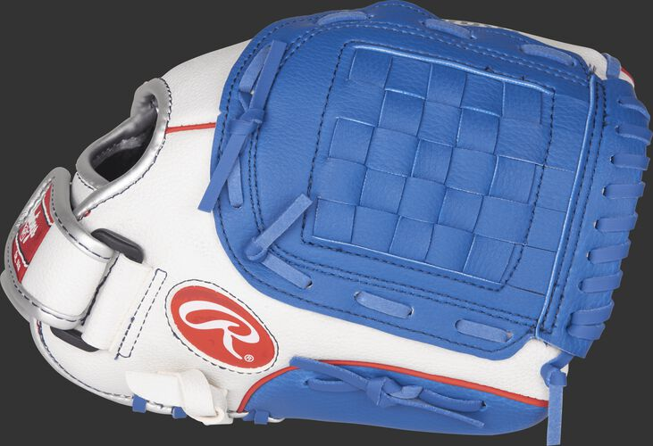 Thumb view of a white PL110WNS Players Series 11-inch youth glove with navy trim and a navy Basket web