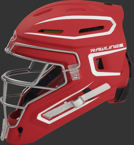 Left side of a scarlet CHMCHJ Rawlings junior hockey style Mach catcher's helmet