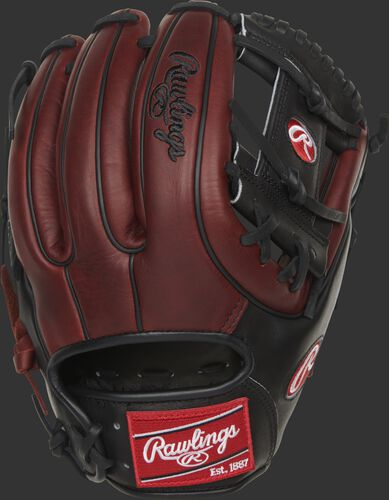 Burgundy back of a Heart of the Hide 11.75-Inch I-web glove with a red Rawlings patch - SKU: PRO315-2JPPRO