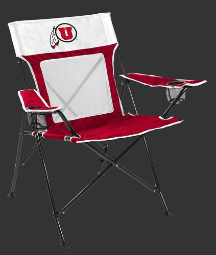 Front of Rawlings Crimson and White NCAA Utah Utes Game Changer Chair With Team Logo SKU #00643105111