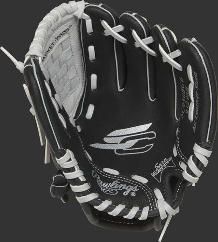 SC950BGB Rawlings Sure Catch youth glove with a black palm and grey laces
