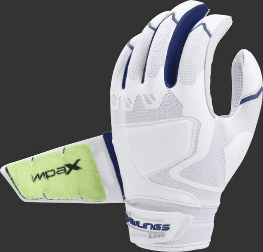 Back of a white/navy FPWPBG-N Workhorse batting glove with the Impax pad