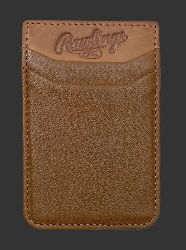 A tan Rawlings leather phone card holder with 2 card slots - SKU: R090007-204