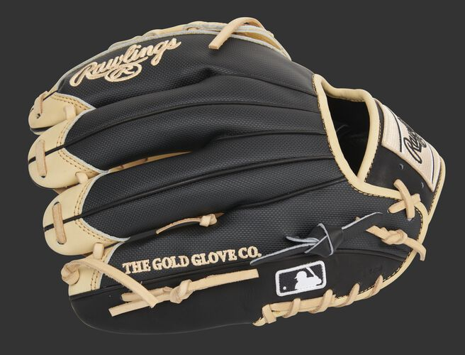 Black  Speed Shell finger backs of a Heart of the Hide 12-Inch glove with the MLB logo on the pinkie - SKU: PRO206-6CBSS
