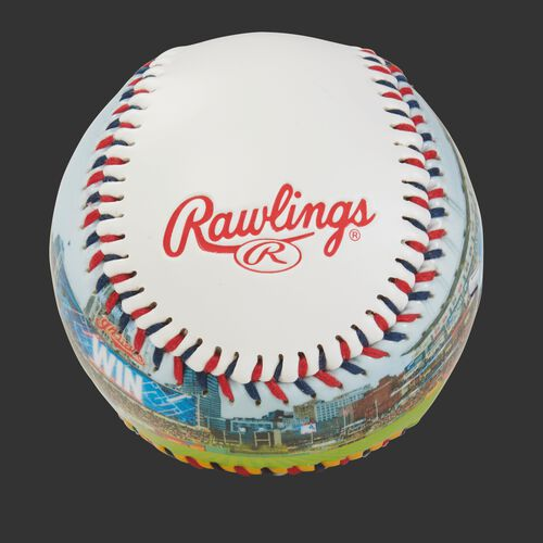 Rawlings logo on a Cleveland Indians team stadium ball