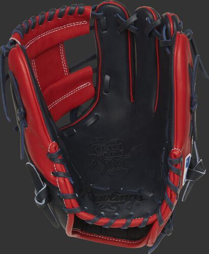 Navy palm of a Rawlings HOH Atlanta Braves glove with navy laces - SKU: RSGPRO204-2ATL