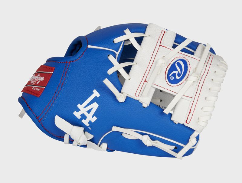 Thumb of a blue/white Los Angeles Dodgers 10-inch team logo glove with a white I-web and LA logo on the thumb - SKU: 22000011111