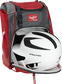 A white/black helmet in the main compartment of a scarlet Rawlings Franchise backpack - SKU: FRANBP-S image number null