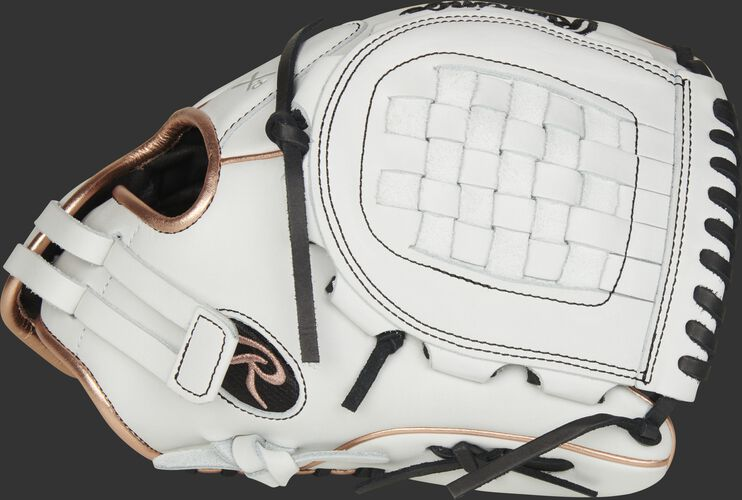 Thumb of a white RLA120-3RG Liberty Advanced 12-inch infield/pitcher's glove with a white Basket web