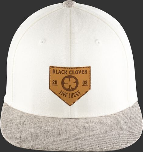 Front of a white Rawlings Black Clover hat with a grey flat bill and leather patch home plate logo - SKU: BC0LPF0071